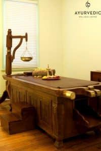 Ayurveda Abhyanga Full Body Massage table at the Ayurvedic Wellness Centre in Bondi Junction, Sydney