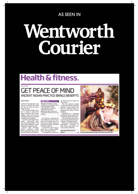 As Seen In: Wentworth Courier | Ayurvedic Wellness Centre