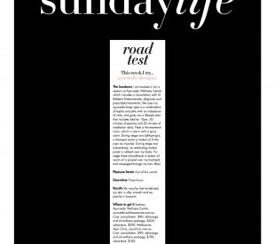 The Ayurvedic Wellness Centre was featured in Sunday Life Magazine!
