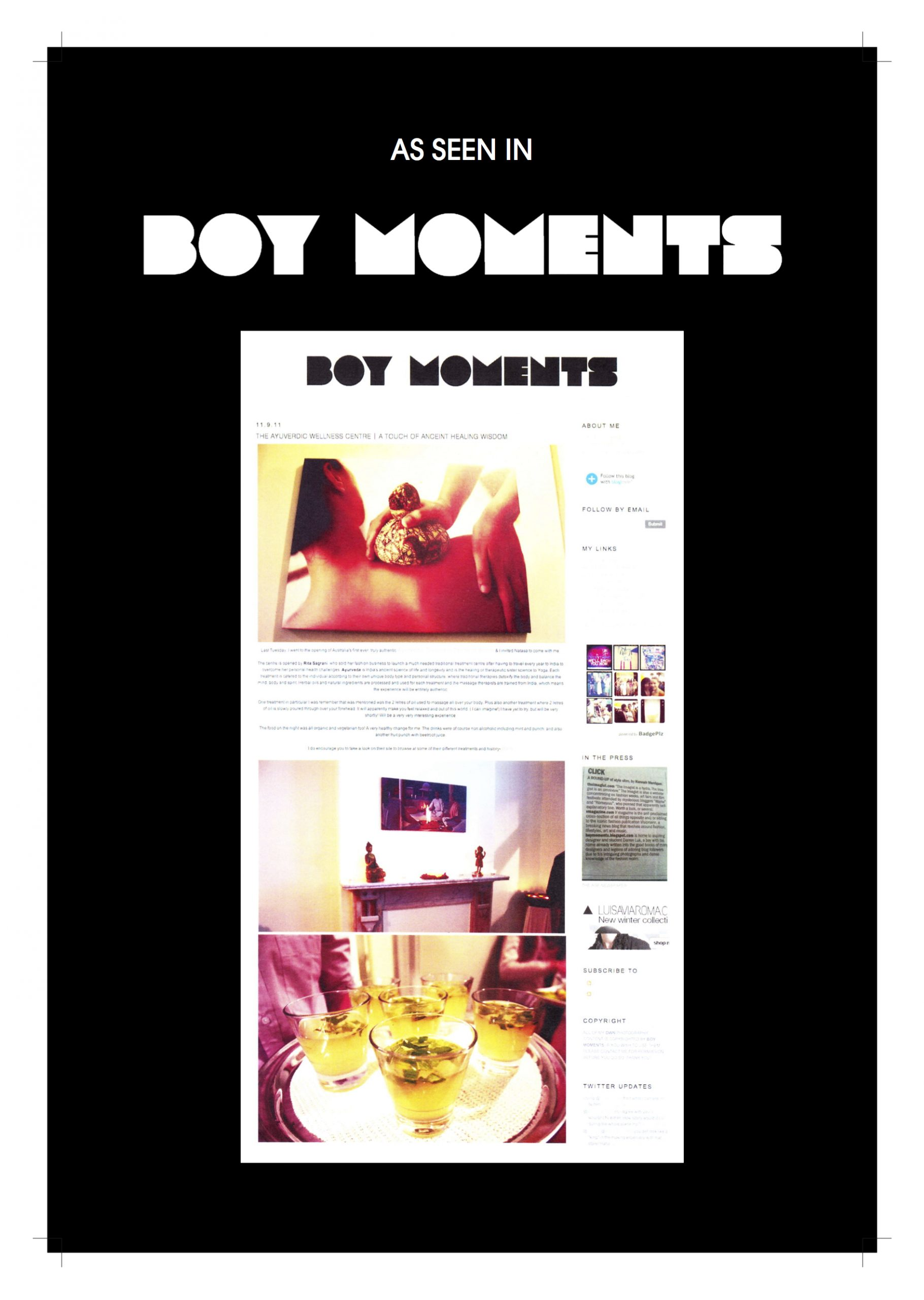 Article about ayurvedic wellness centre in Boy moments