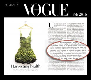 Ayurvedic wellness centre in Vogue magazines